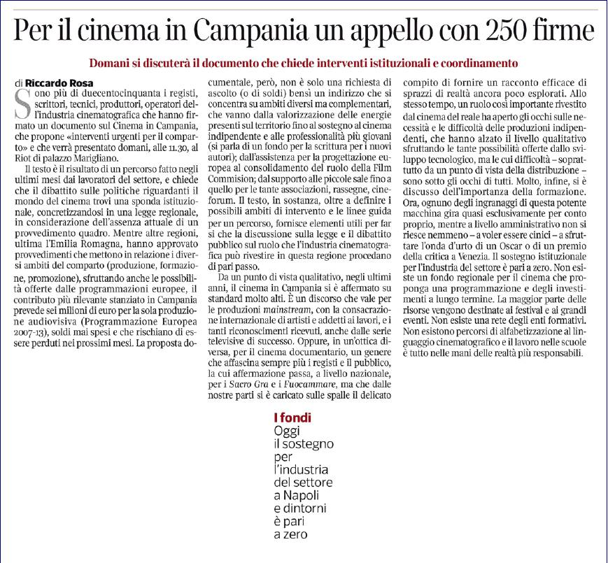 Per il cinema in Campania un appello con 250 firme